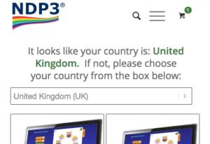 Select Country menu
